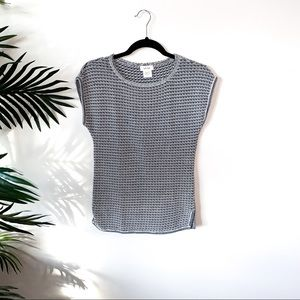 KATE HILL Marble Knit Short-Sleeve Top